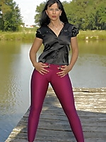 Black haired MILF in a purple pants | MyBigMILFBooty.com